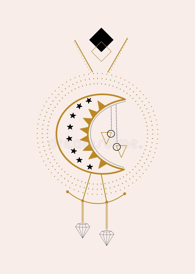 月亮和金刚石在几何构成 向量例证