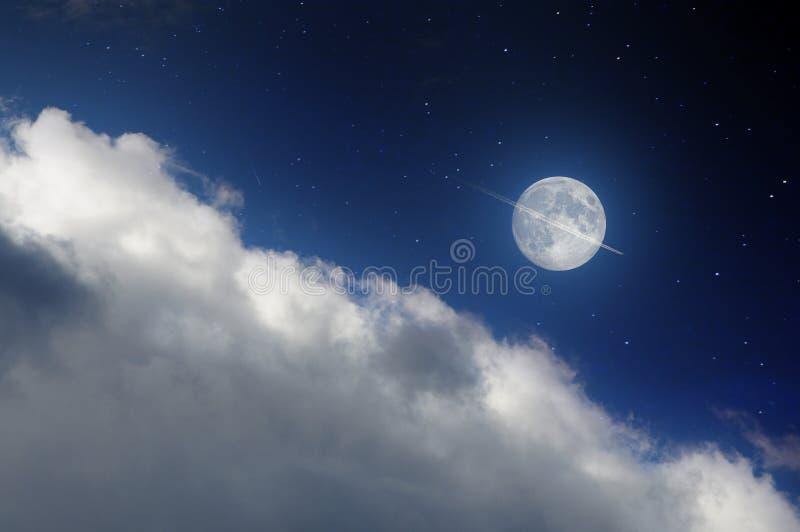 月亮和飞机 免版税库存照片
