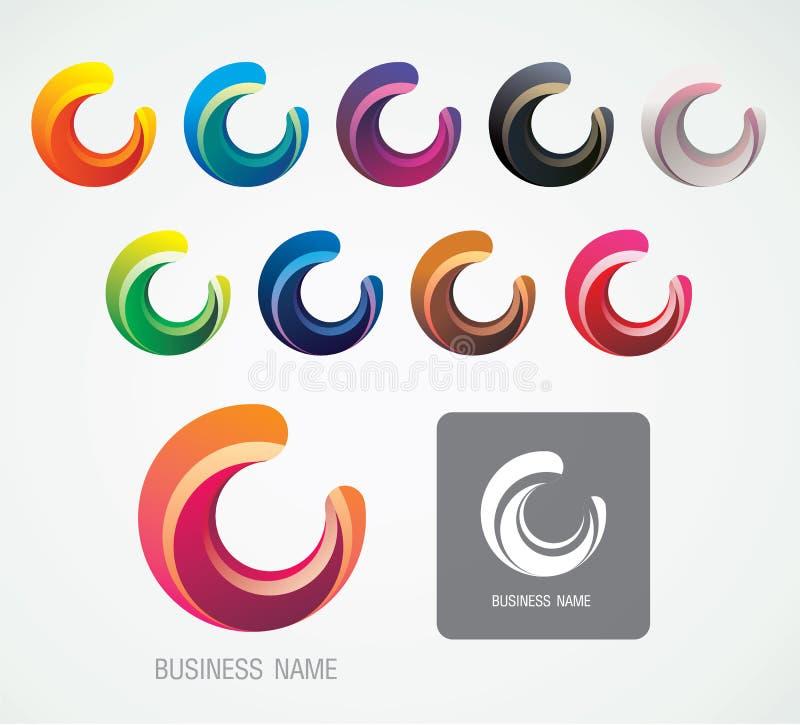 月亮和C商标标志设计,现代最小 免版税库存照片