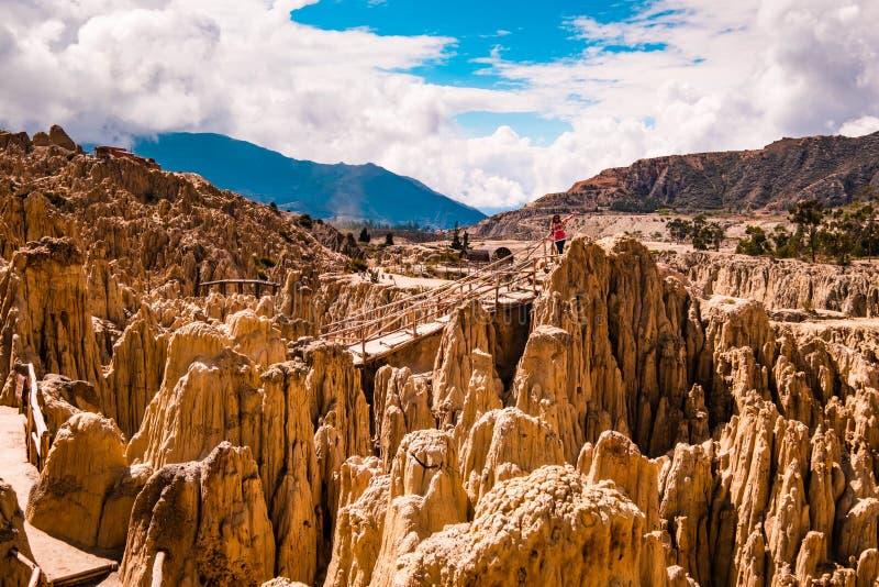 月亮在拉巴斯附近的谷风景在玻利维亚 免版税库存照片