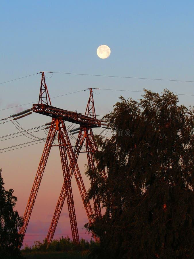 月亮在黎明 免版税库存图片