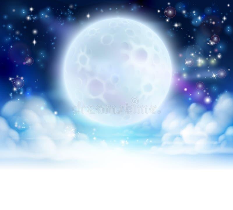 月亮天空倒栽跳水背景 向量例证