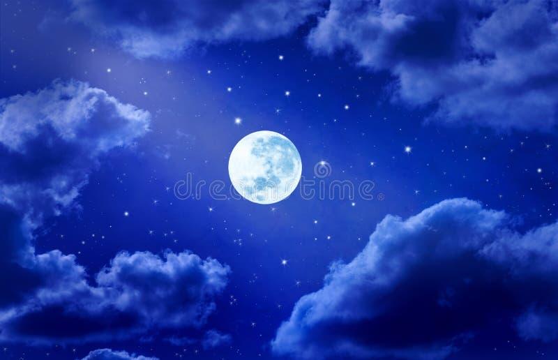 月亮天空星形 库存例证