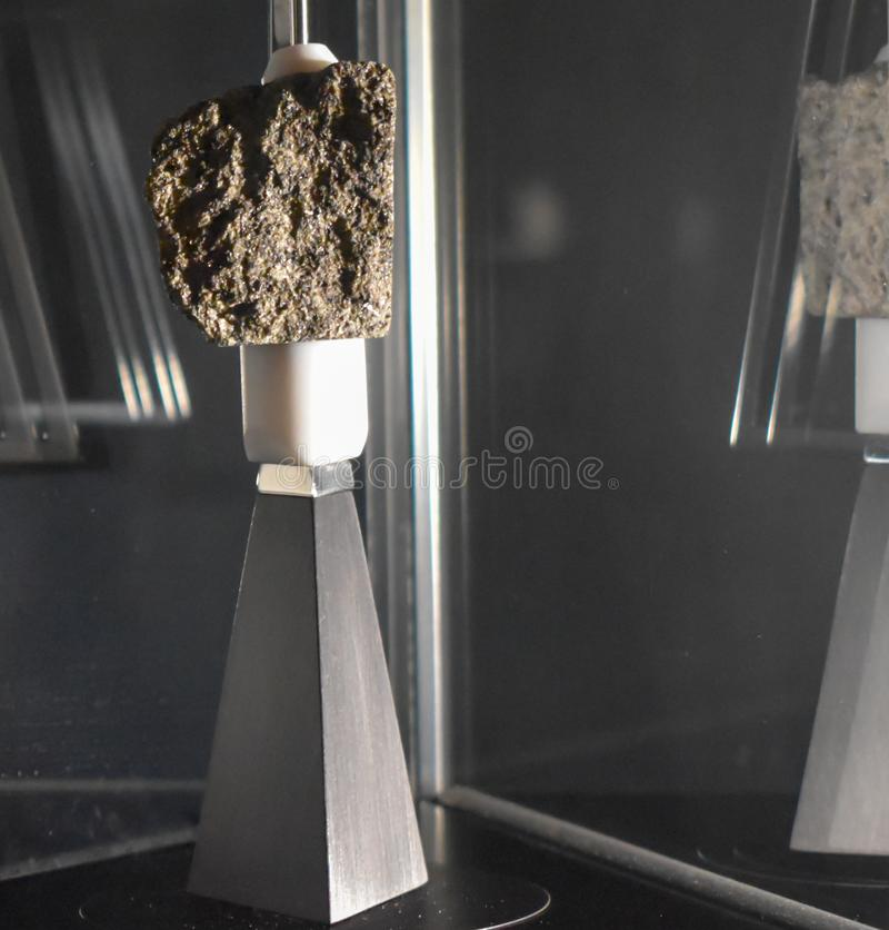 月亮岩石的片段在显示的在科技馆在伦敦 免版税库存图片