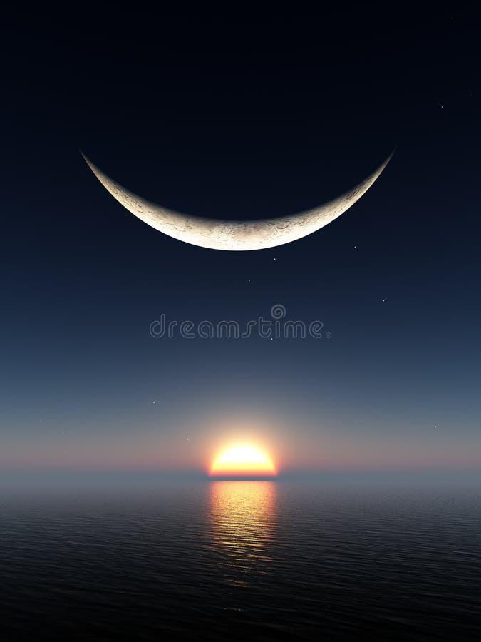 月亮微笑日出 皇族释放例证
