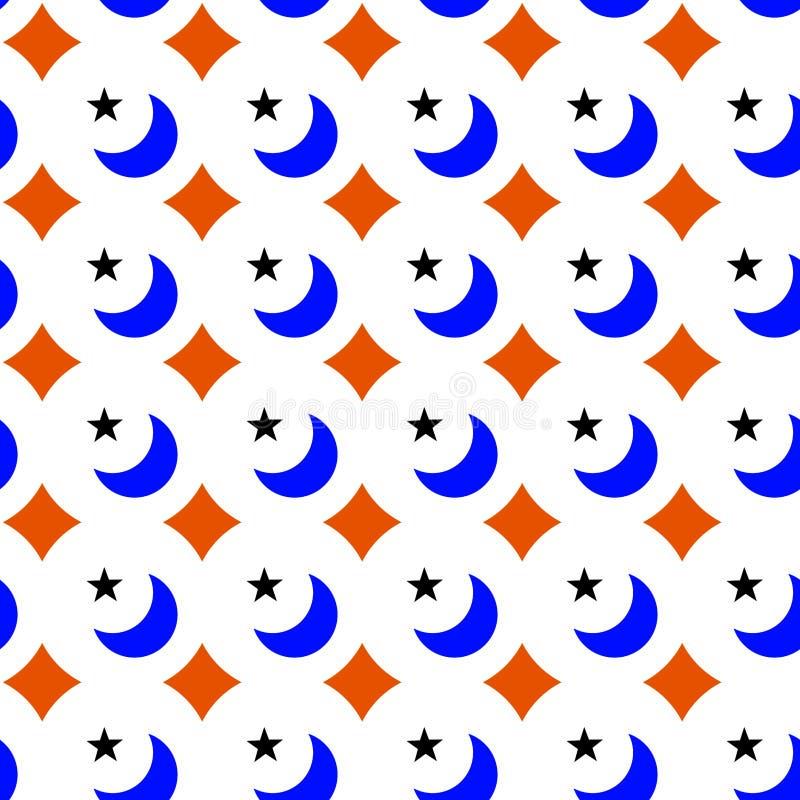 月亮星几何无缝的纹理 皇族释放例证