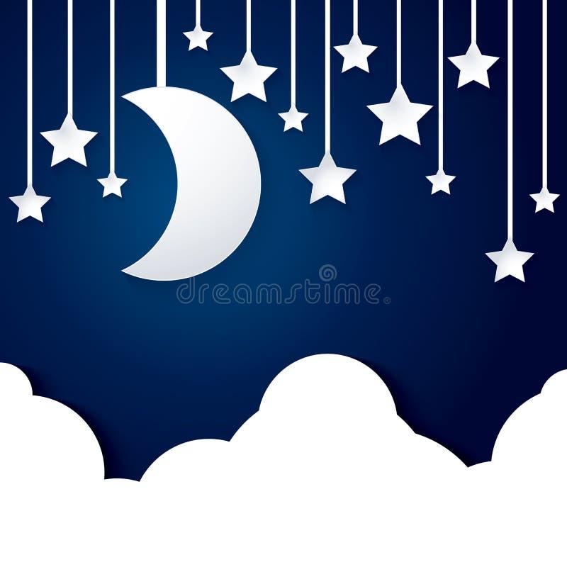 月亮星和云彩纸 库存例证