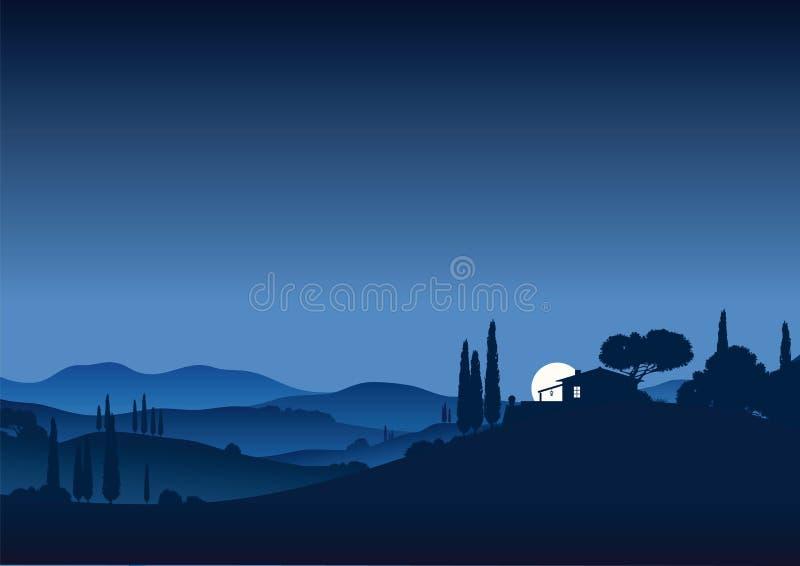 月亮晚上托斯卡纳 向量例证