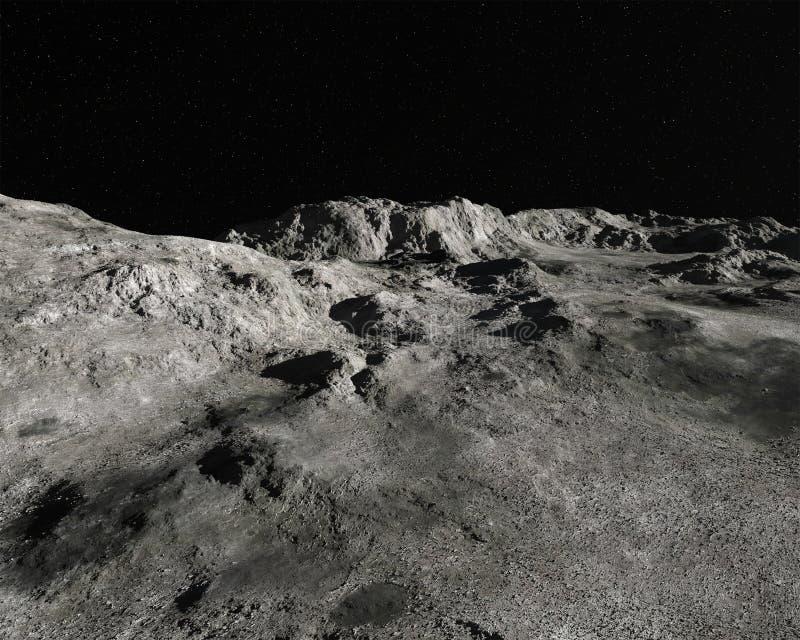 月亮月球风景全景背景 免版税库存照片