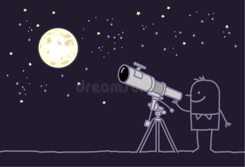 月亮望远镜 向量例证