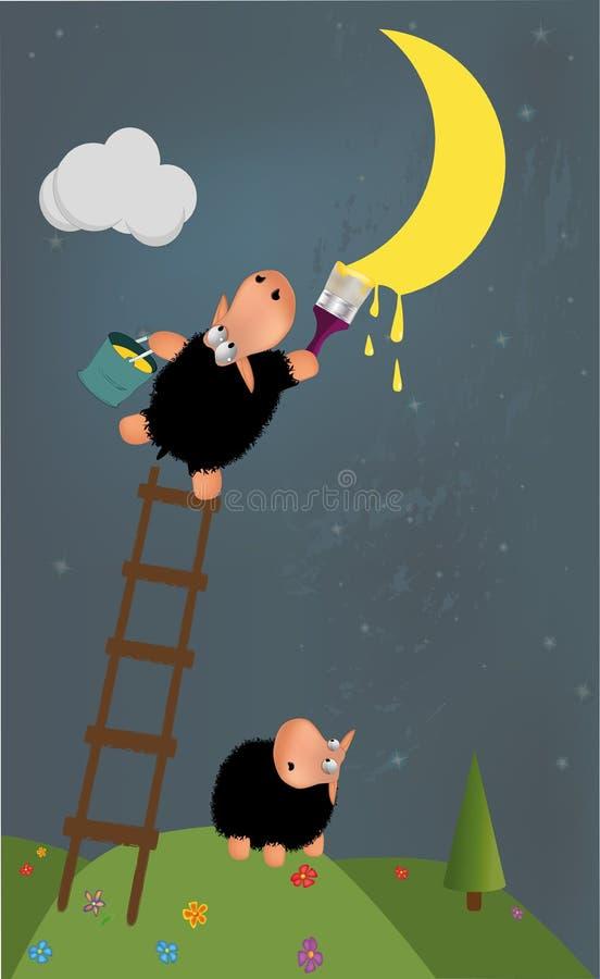 月亮油漆绵羊 库存例证
