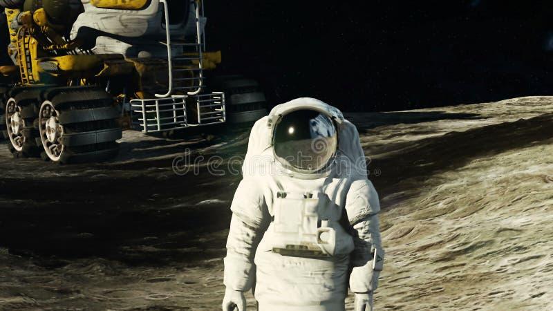 月亮的一位宇航员在他的观看地球的月亮流浪者旁边 库存例证