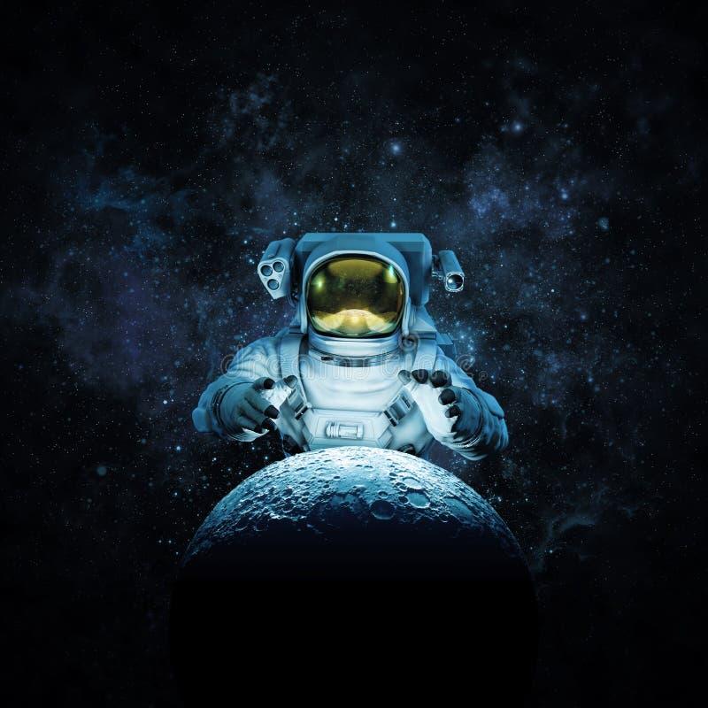 月亮的伸手可及的距离 向量例证