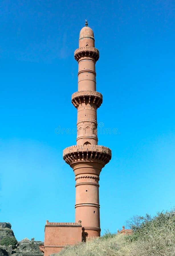 月亮的塔, Daulatabad堡垒 库存照片