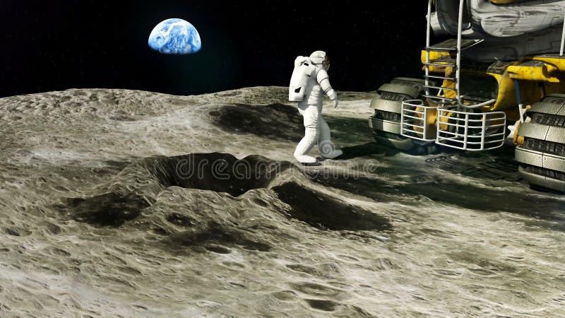 月亮的宇航员回到他的月亮 皇族释放例证
