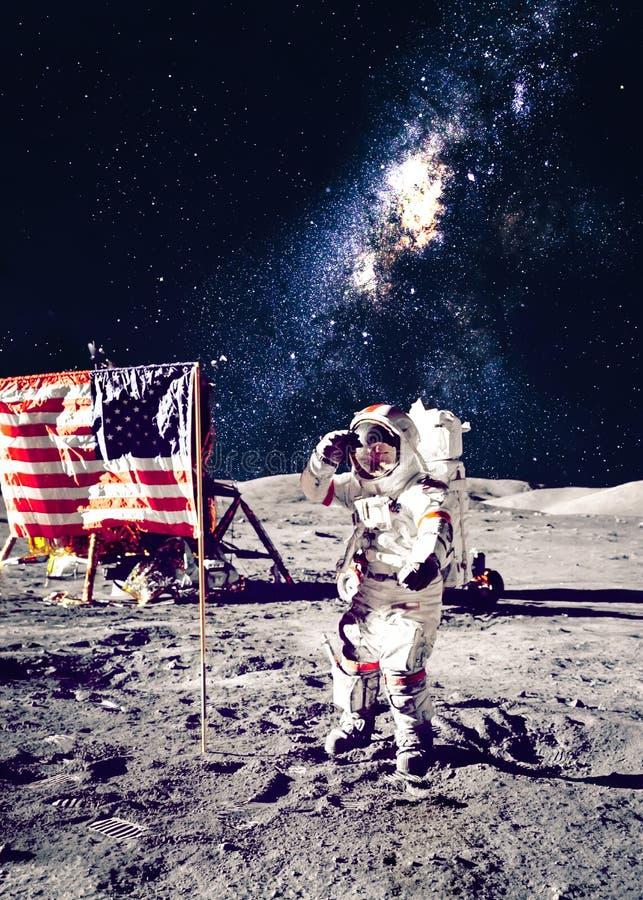 月亮的宇航员 免版税库存图片