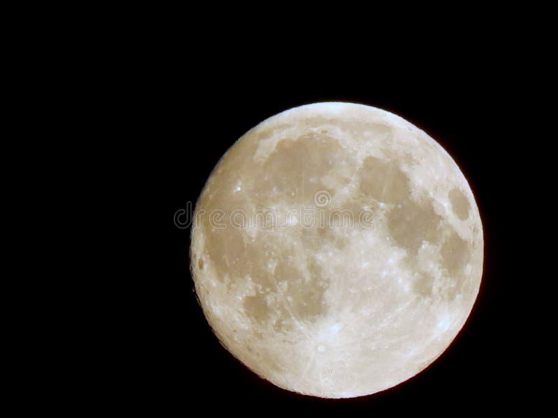 月亮的蚀在夜空的与光箍在特写镜头附近的 图库摄影