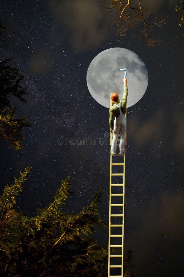 月亮绘画梯子 图库摄影