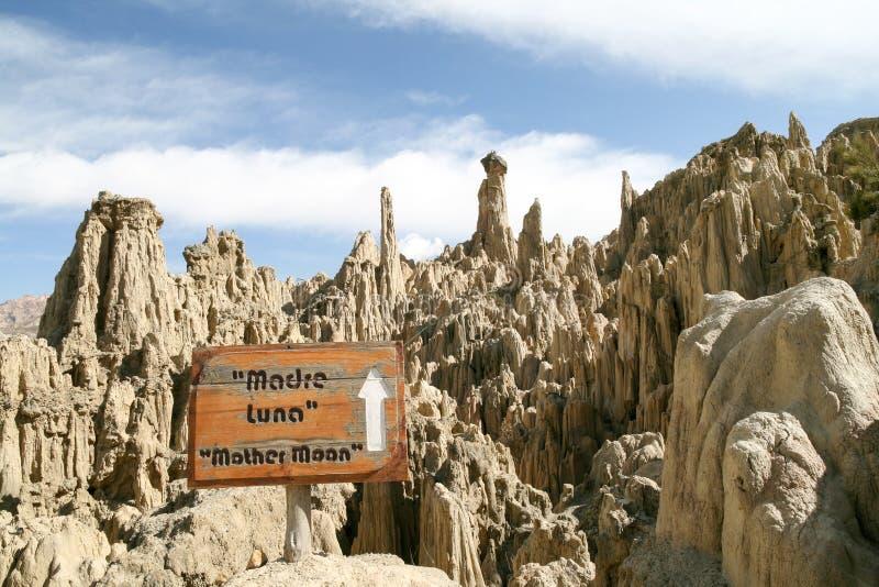 月亮谷,玻利维亚岩石  免版税库存图片