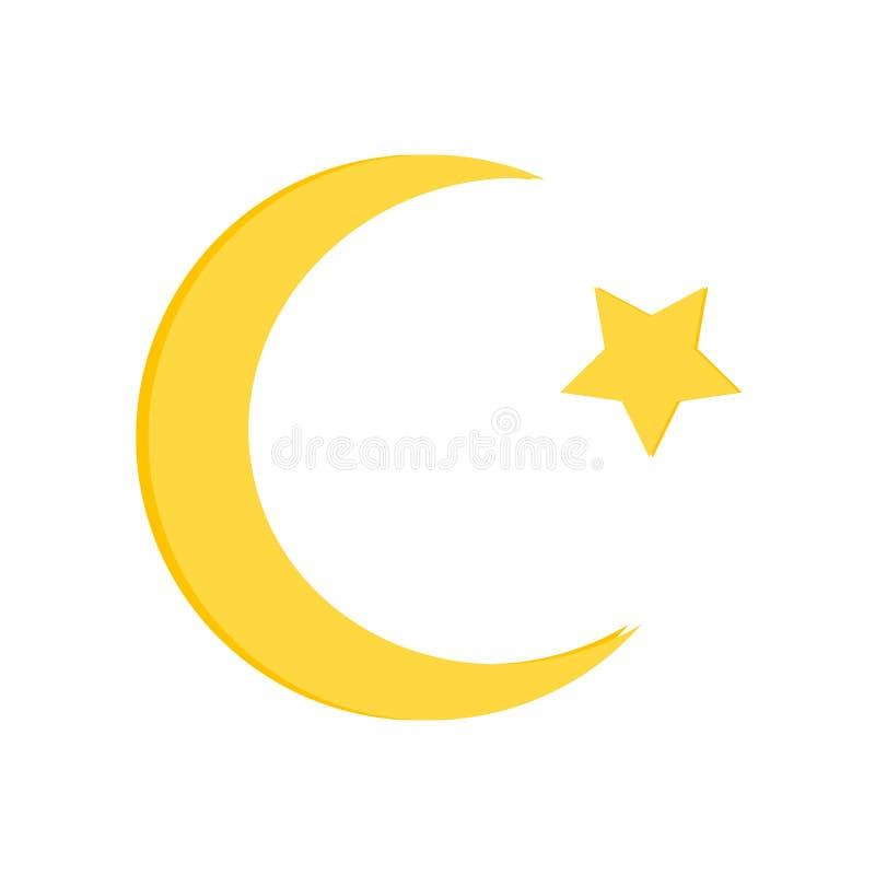 月亮象在白色背景和标志隔绝的传染媒介标志,月亮商标概念 向量例证