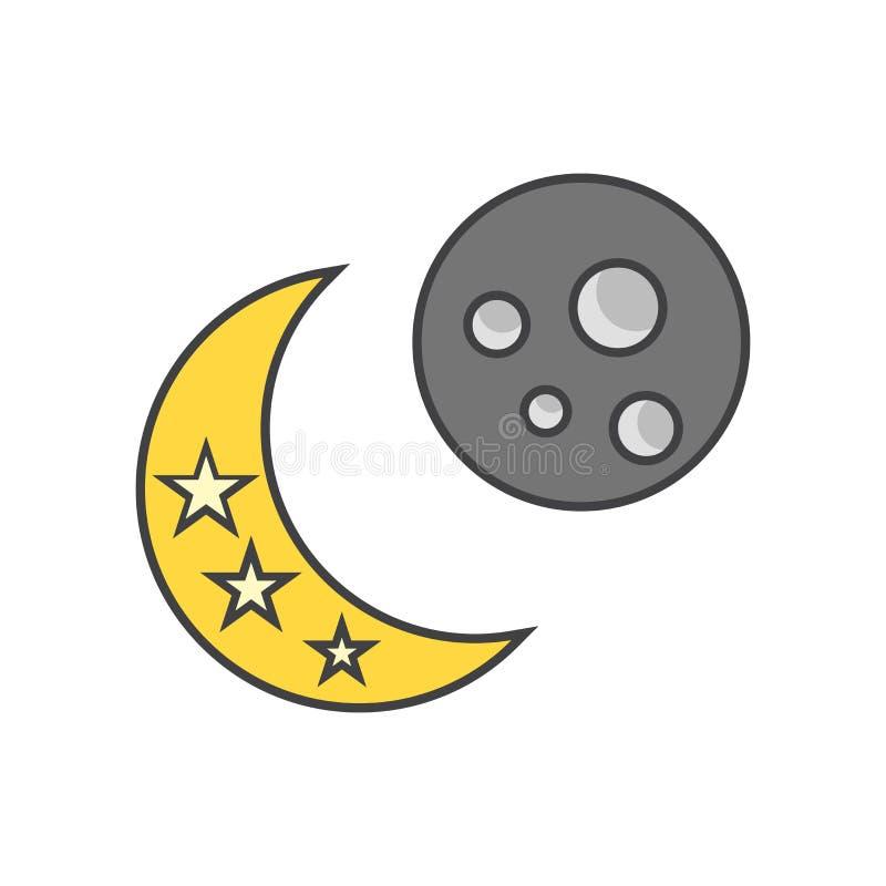 月亮象在白色背景和标志隔绝的传染媒介标志,月亮商标概念 皇族释放例证