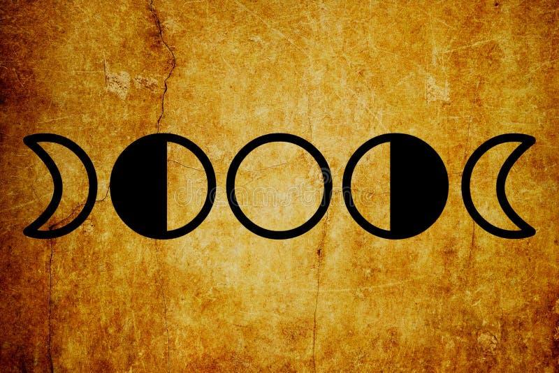 月亮逐步采用不可思议的标志葡萄酒背景 皇族释放例证