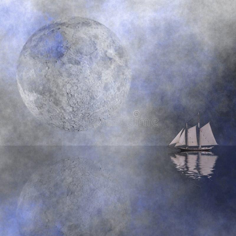 月亮风帆 库存例证