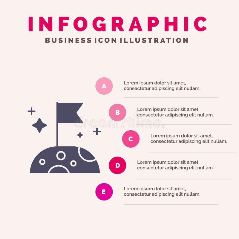 月亮,慢,空间坚实象Infographics 5步介绍背景 库存例证