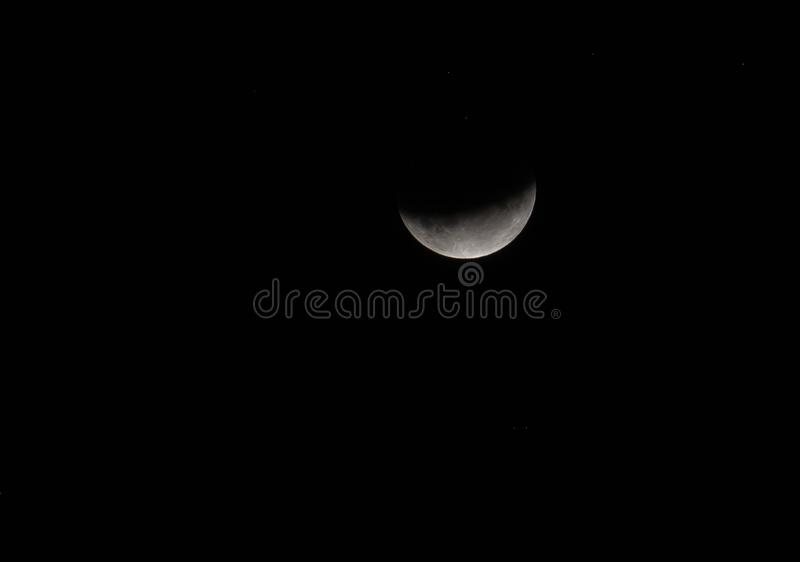 月亮2019年7月的蚀 库存照片