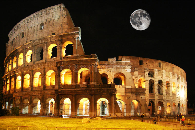 月亮colosseum 图库摄影