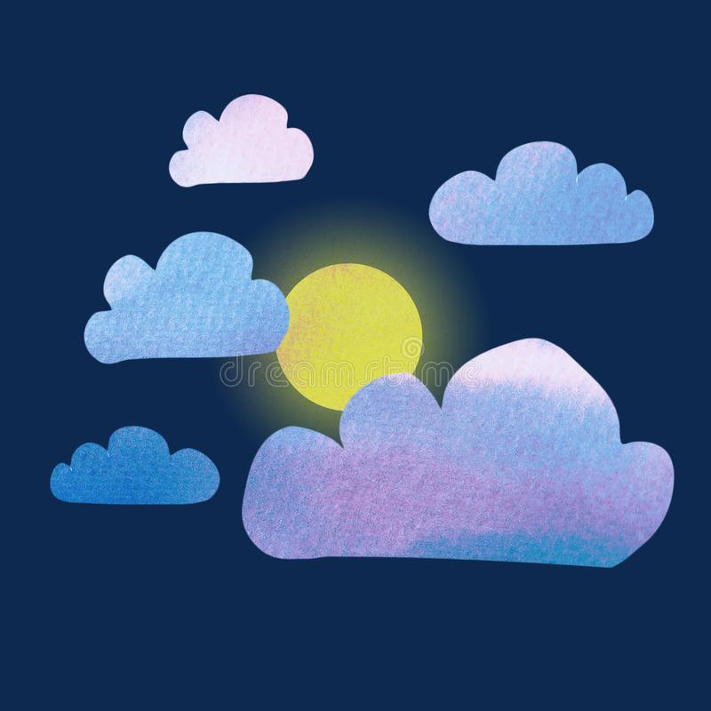 月亮lullabye 蓝色玫瑰色云彩的逗人喜爱的最小的动画片样式例证与水彩纹理和光亮的月亮的 向量例证