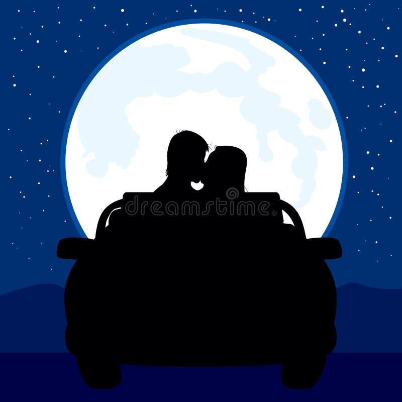 满月亲吻 向量例证