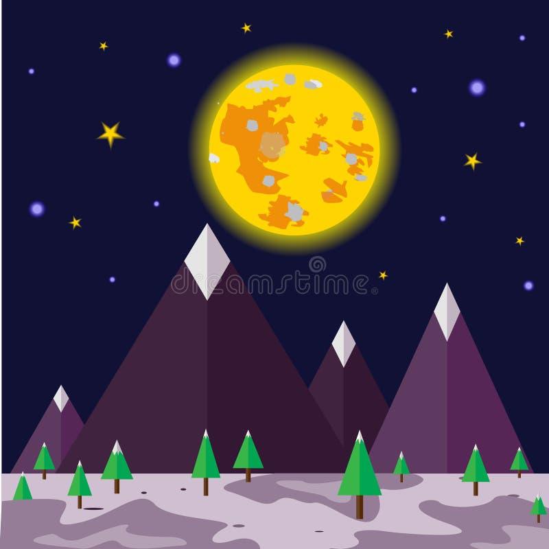 月光夜和自然风景传染媒介 图库摄影