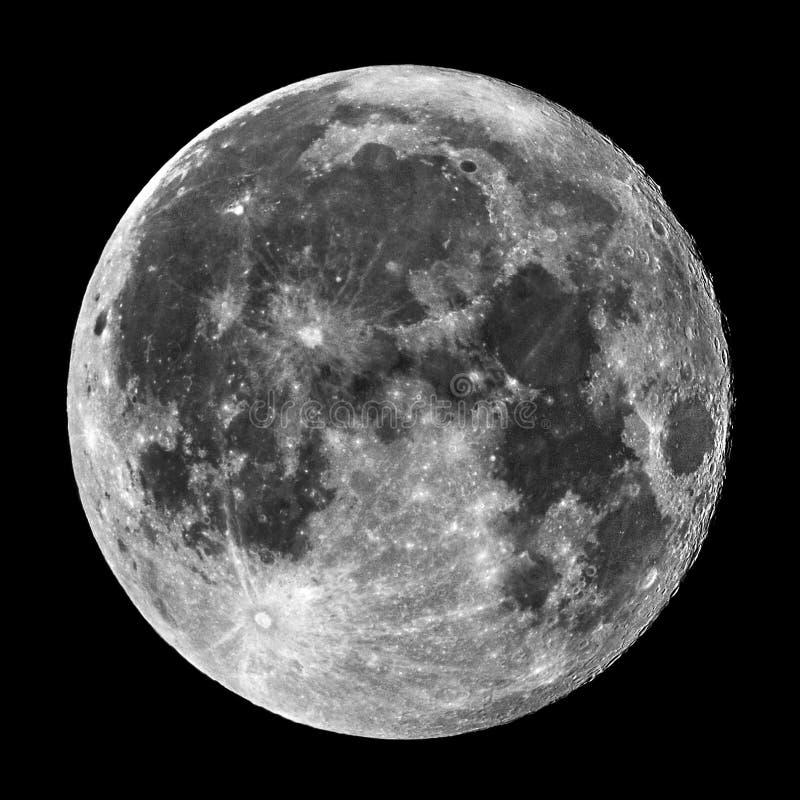 满月和火山口在夜空 库存照片