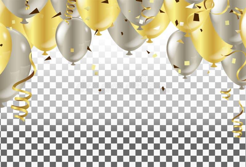 7月四日 第4 7月假日横幅 在t的金黄气球 库存例证