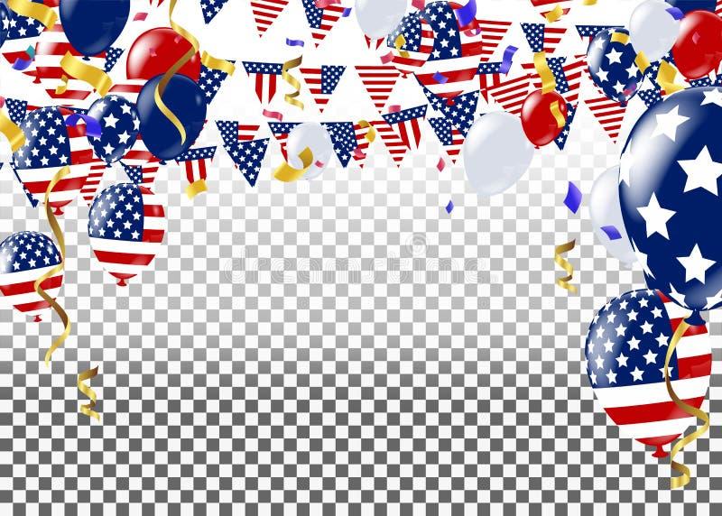 7月四日 第4 7月假日横幅 美国美国独立日 库存例证