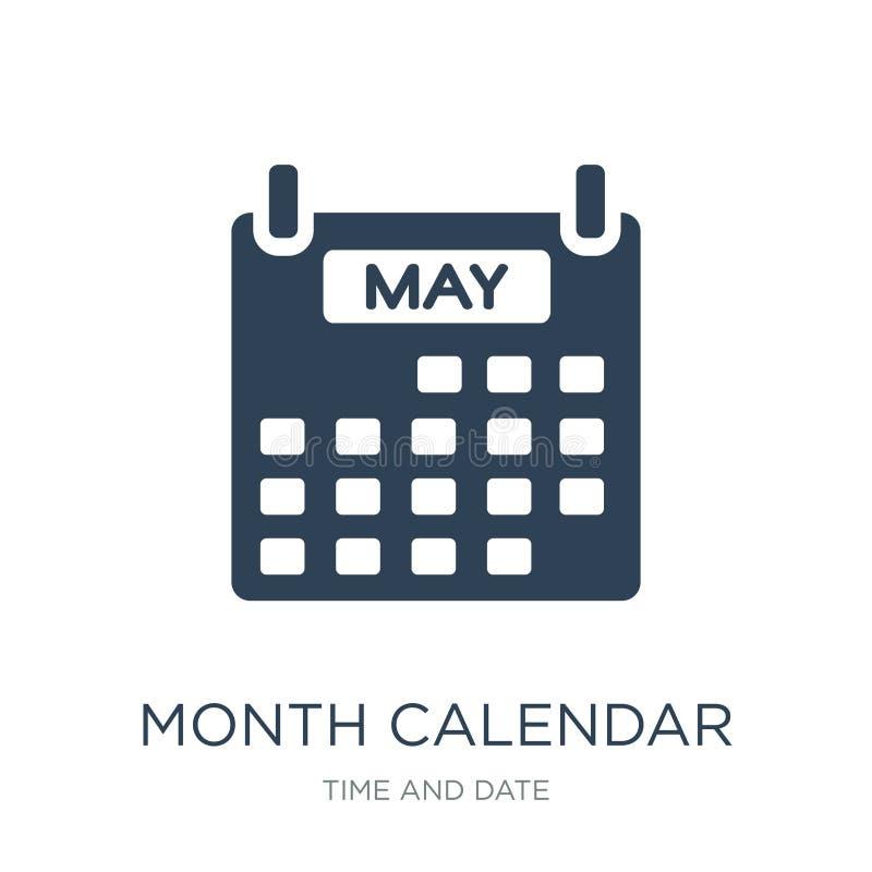 月在时髦设计样式的日历象 月在白色背景隔绝的日历象 月日历简单传染媒介的象 向量例证