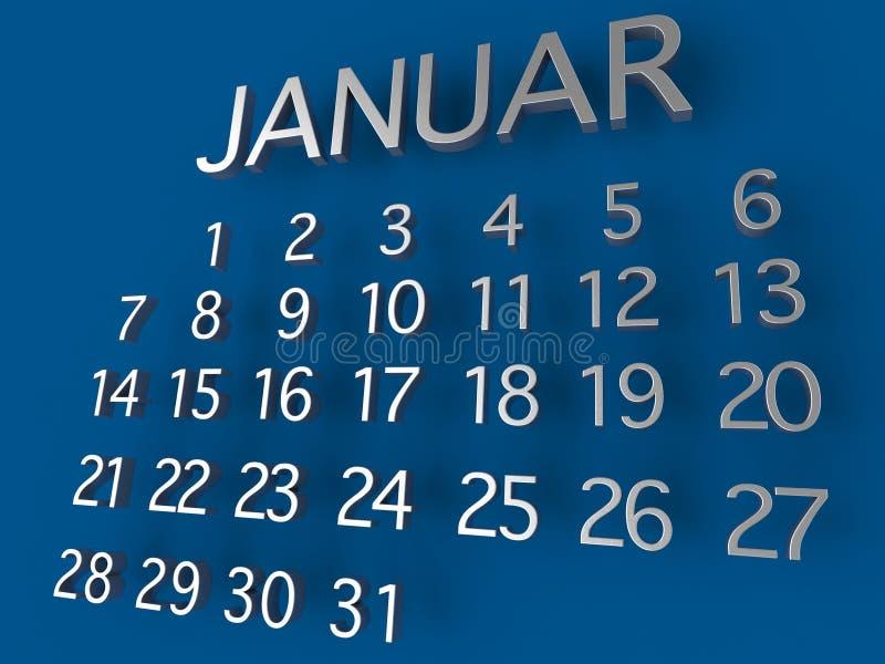 1月在蓝色背景的日历3D金属 皇族释放例证