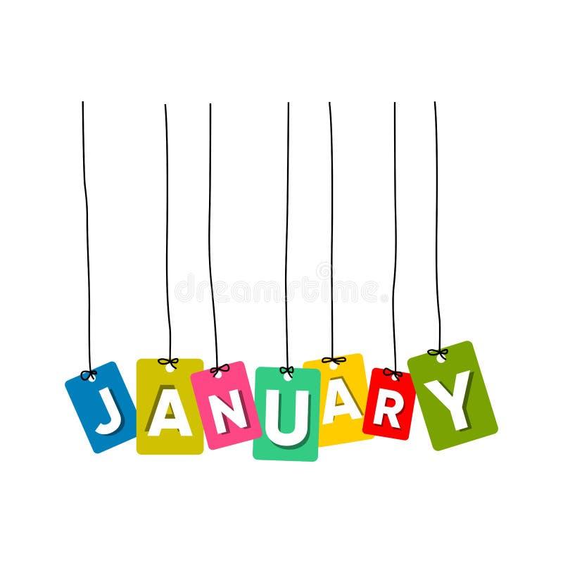 1月垂悬的词传染媒介例证,五颜六色的词传染媒介,月传染媒介的名字 库存例证