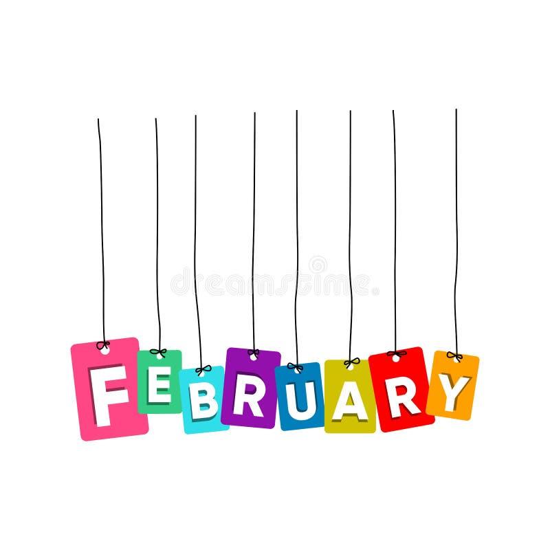 2月垂悬的词传染媒介,五颜六色的词传染媒介,几个月传染媒介的名字 库存例证