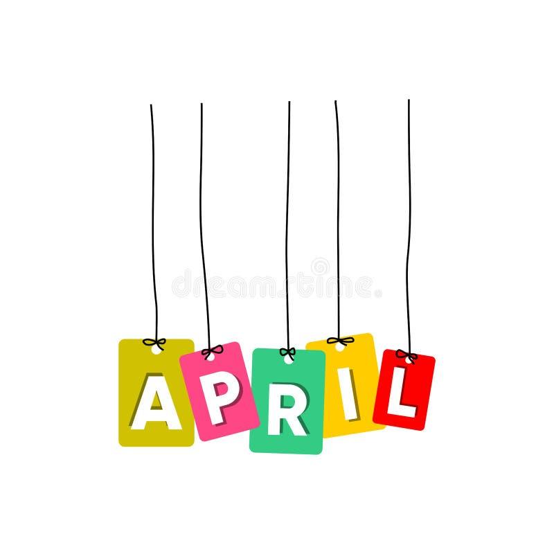 4月垂悬的词传染媒介,五颜六色的词传染媒介,几个月传染媒介的名字 向量例证
