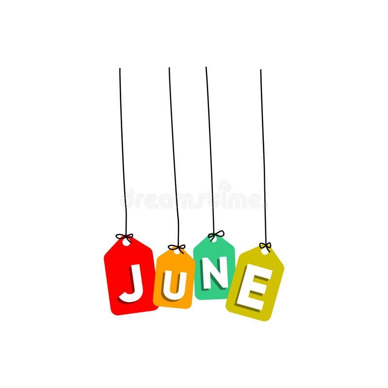 6月垂悬的词传染媒介,五颜六色的词传染媒介,几个月传染媒介的名字 皇族释放例证