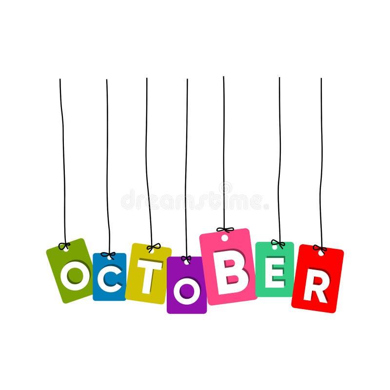 10月垂悬的词传染媒介,五颜六色的词传染媒介,几个月传染媒介的名字 库存例证