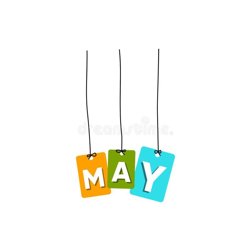 5月垂悬的词传染媒介,五颜六色的词传染媒介 库存例证