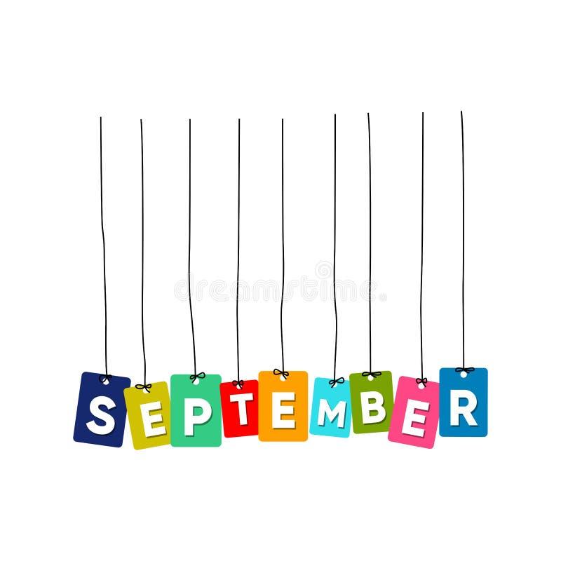 9月垂悬的词传染媒介,五颜六色的词传染媒介 向量例证