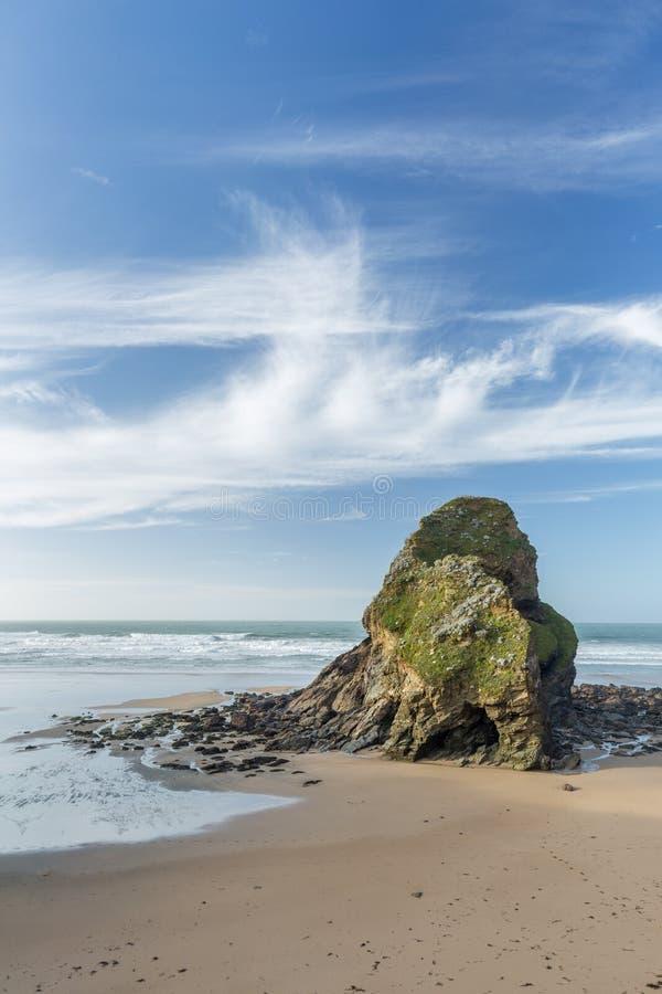11月天,Whipsiderry海滩,纽基,康沃尔郡 图库摄影