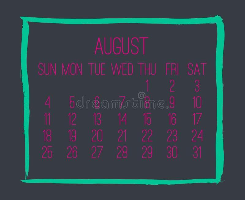 8月年2019月度日历 向量例证