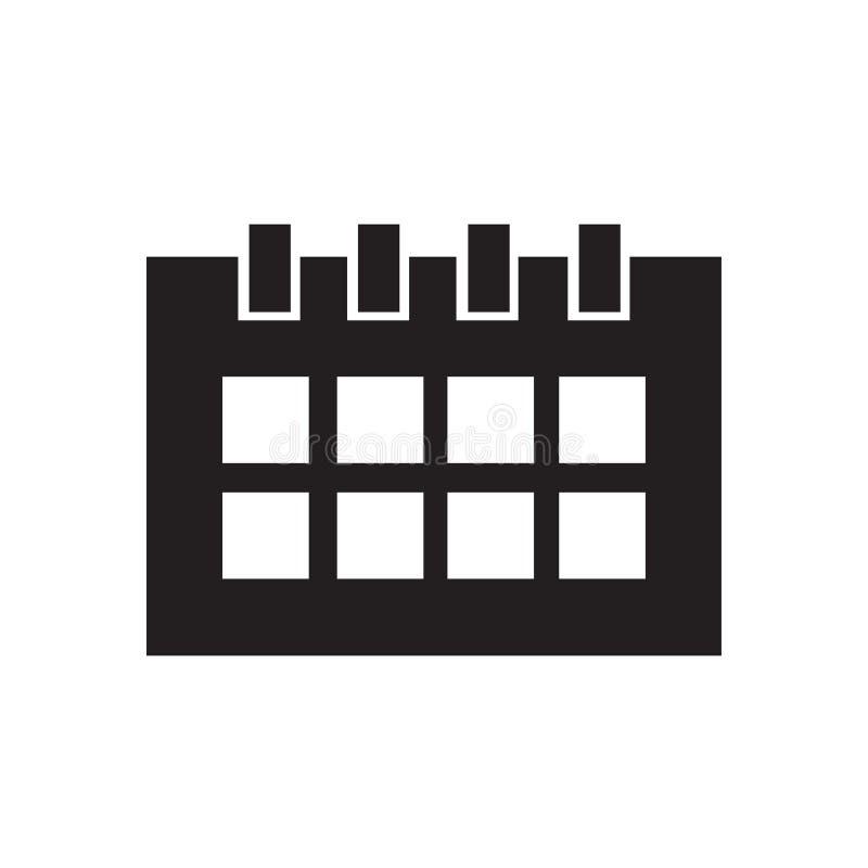 月度日历象在白色背景隔绝的传染媒介标志和标志,月度日历商标概念 库存例证