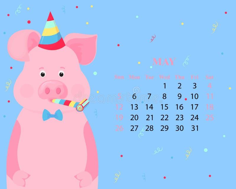 月度日历2019年5月 在一个镶边党帽子和垫铁吹风机的逗人喜爱的猪图片
