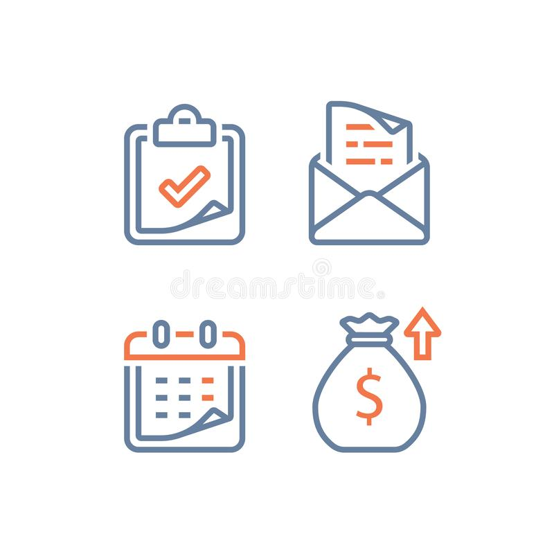 月度贷款偿还就职、财政日历、年收入、长期价值投资和回归,时期 向量例证
